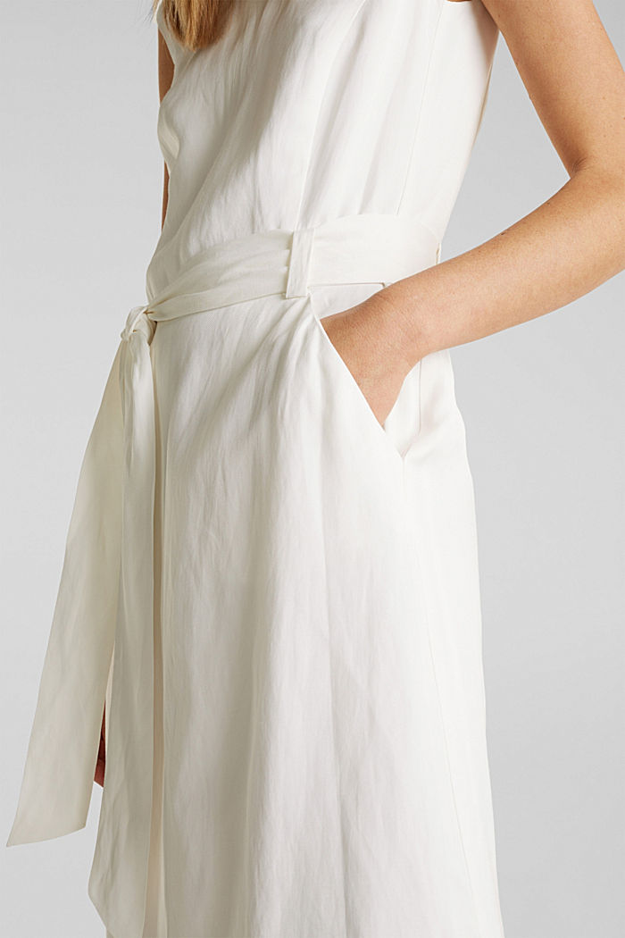 Blended linen: Dress with a tie-around belt, OFF WHITE, detail image number 5