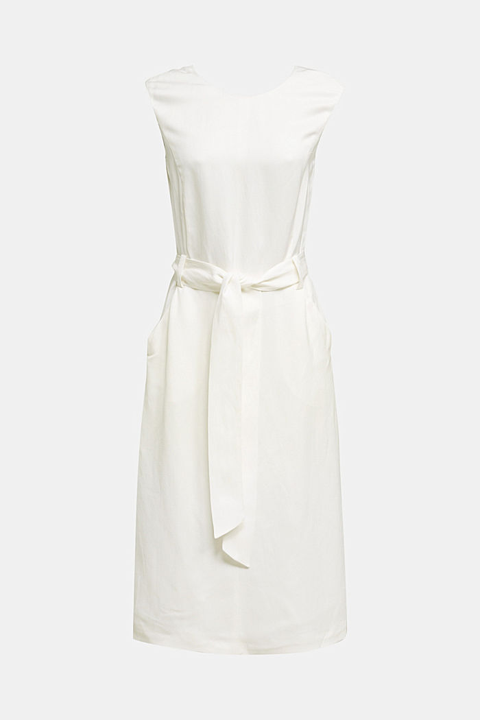 Blended linen: Dress with a tie-around belt, OFF WHITE, detail image number 7