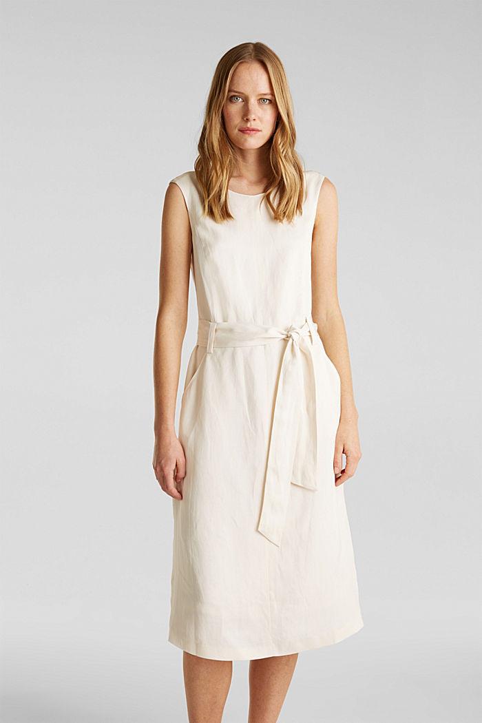 Z lnem: sukienka z wiązanym paskiem, SAND, detail image number 0
