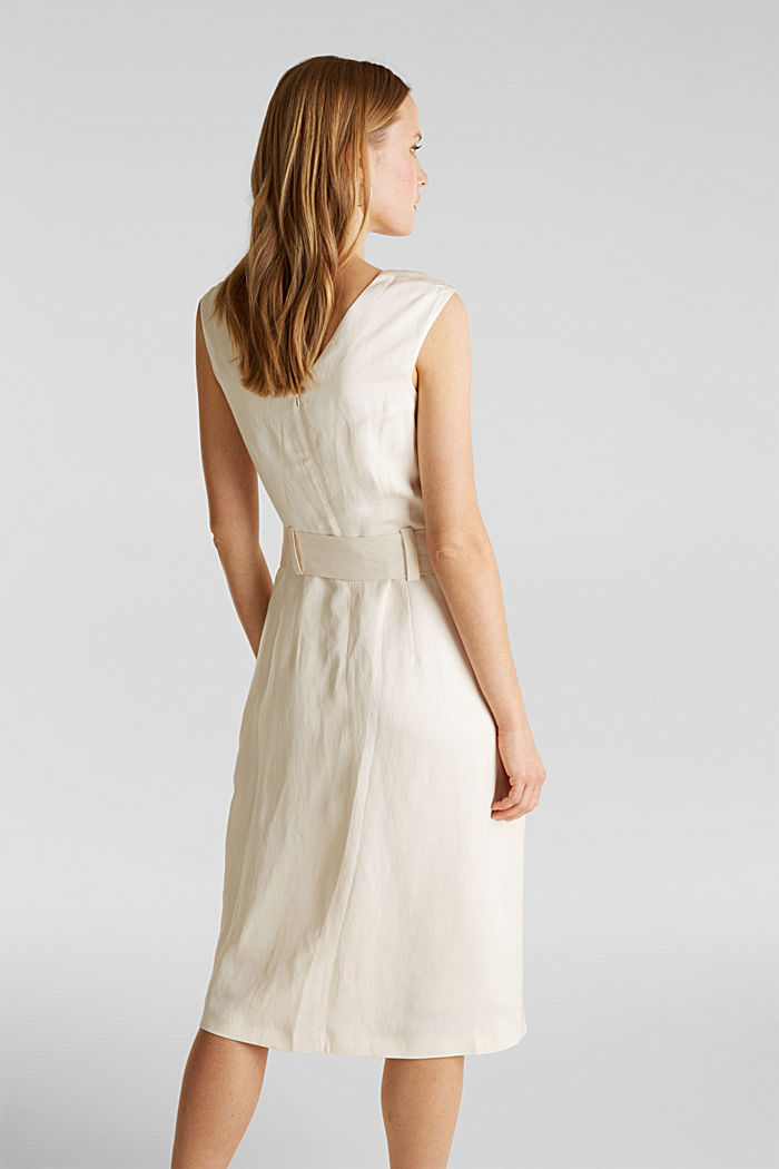 Z lnem: sukienka z wiązanym paskiem, SAND, detail image number 3