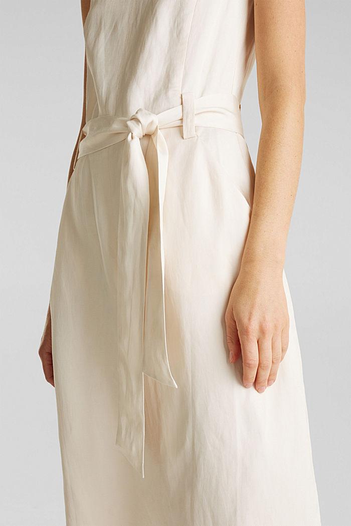 Z lnem: sukienka z wiązanym paskiem, SAND, detail image number 2