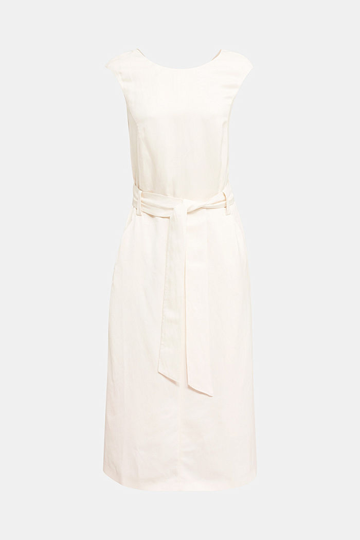 Blended linen: Dress with a tie-around belt