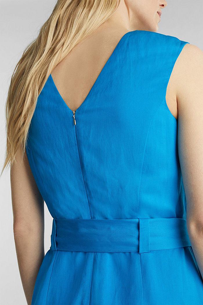 Con lino: abito con cintura da annodare, DARK TURQUOISE, detail image number 4
