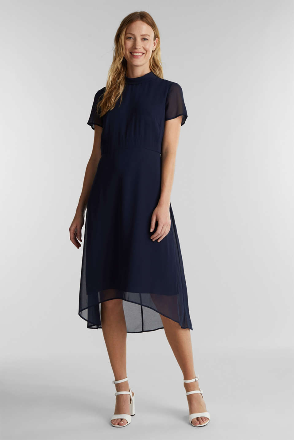 Chiffon dress with a high-low hem, NAVY, detail image number 0