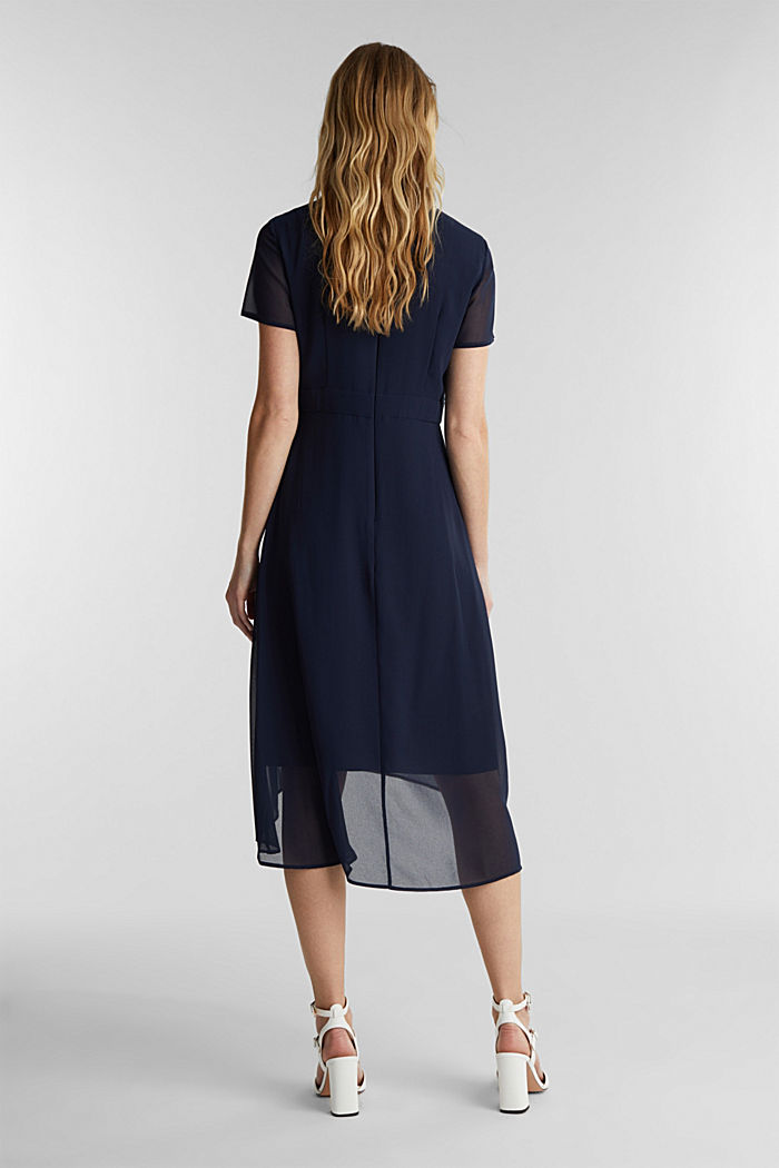 Chiffon dress with a high-low hem, NAVY, detail image number 2