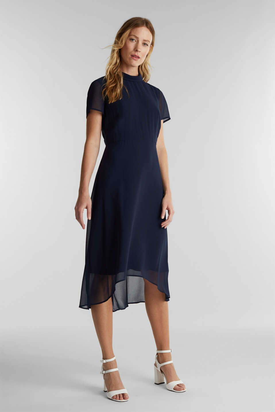 Chiffon dress with a high-low hem, NAVY, detail image number 1