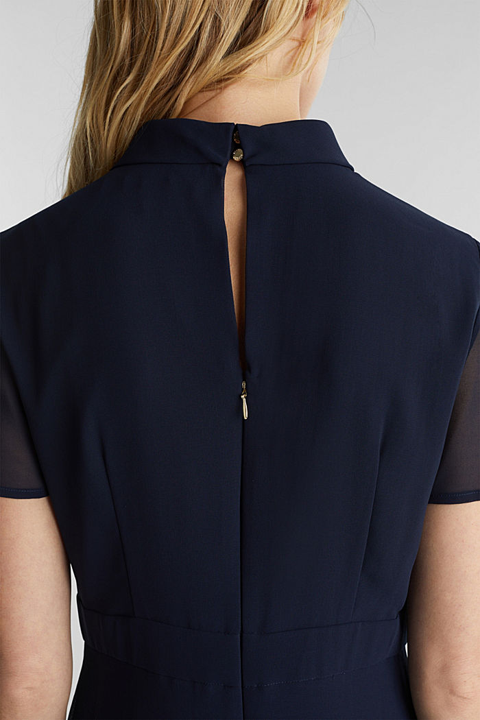 Chiffon dress with a high-low hem, NAVY, detail image number 3