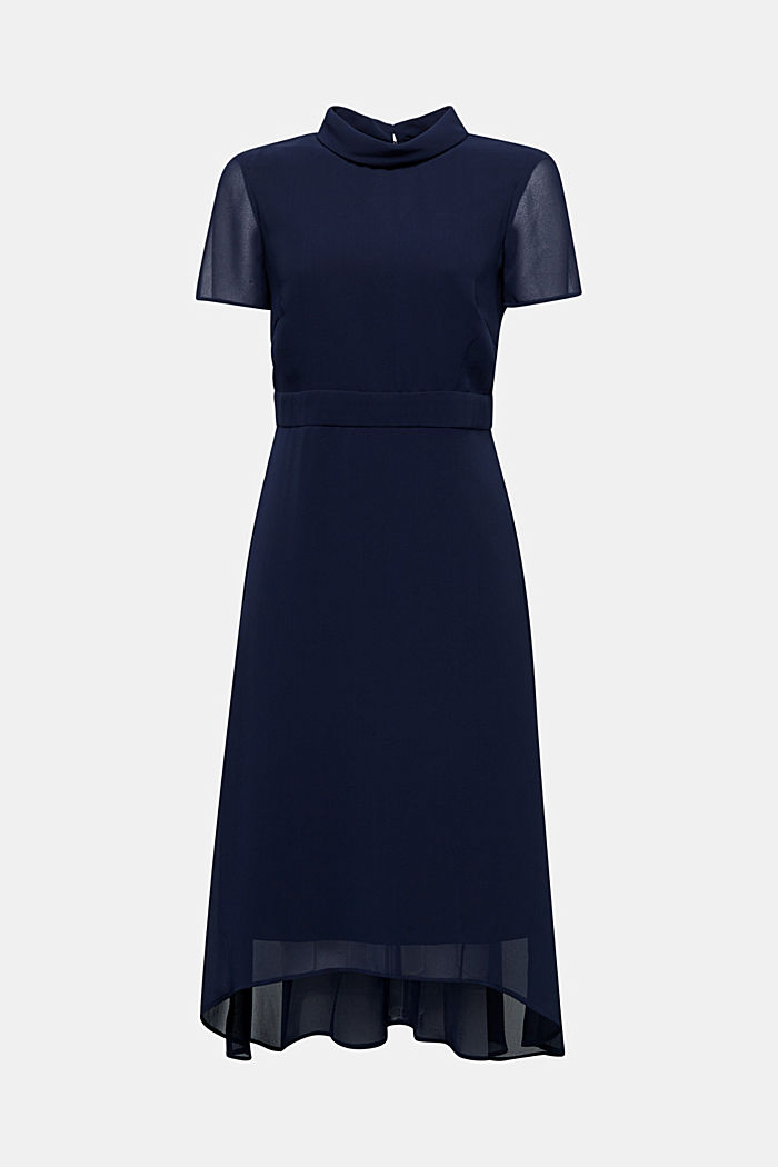 Chiffon dress with a high-low hem, NAVY, detail image number 5