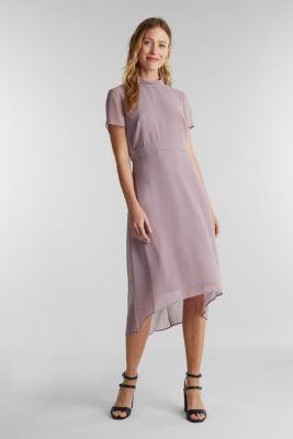 Chiffon dress with a high-low hem, MAUVE, detail