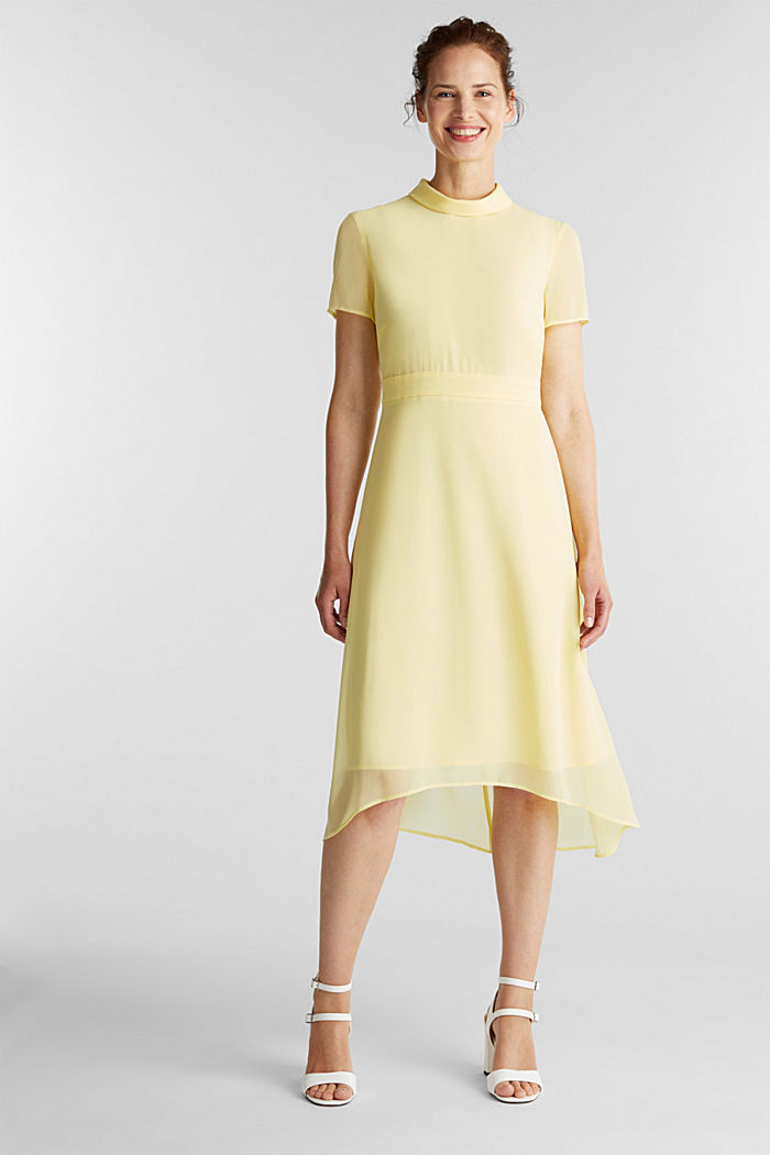 Chiffon-Kleid mit High-Low-Saum, LIME YELLOW, detail image number 0