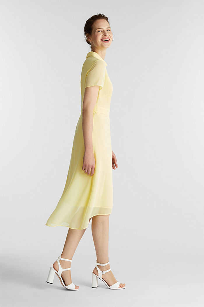 Chiffon-Kleid mit High-Low-Saum, LIME YELLOW, detail image number 1
