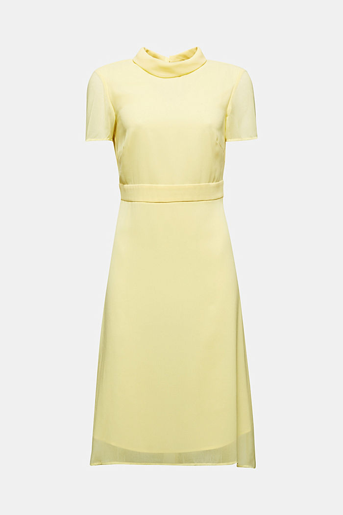 Chiffon-Kleid mit High-Low-Saum, LIME YELLOW, detail image number 4