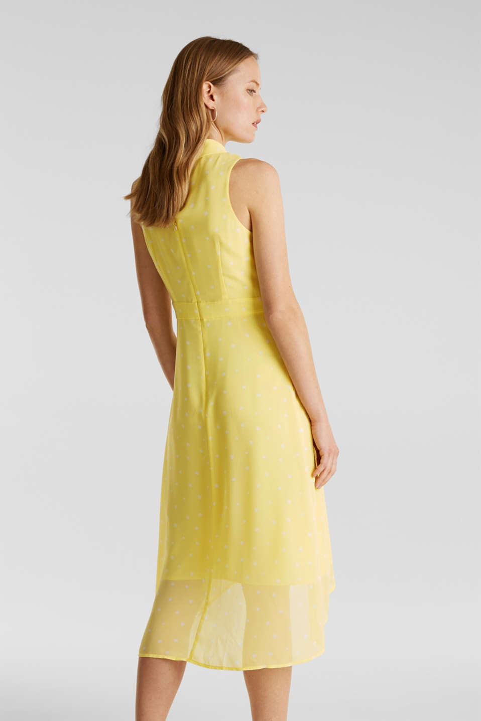Chiffon dress with a high-low hem, LIME YELLOW, detail image number 2