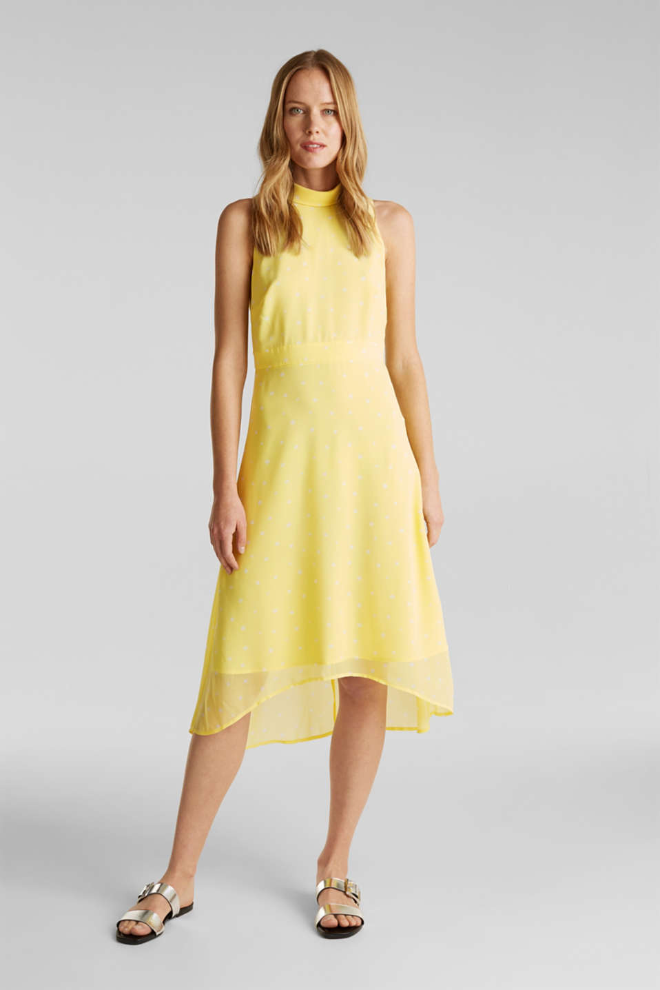 Chiffon dress with a high-low hem, LIME YELLOW, detail image number 1