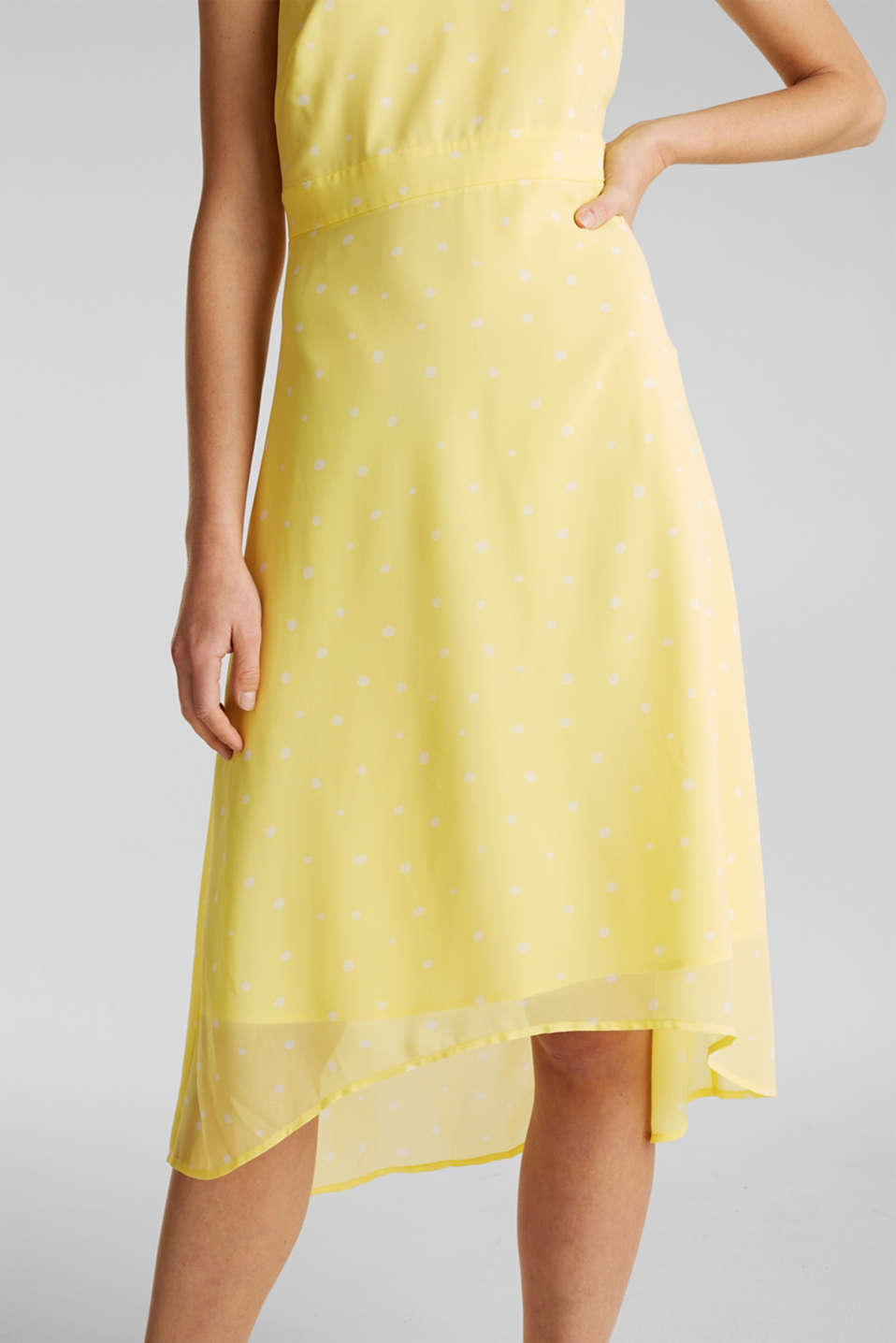 Chiffon dress with a high-low hem, LIME YELLOW, detail image number 3