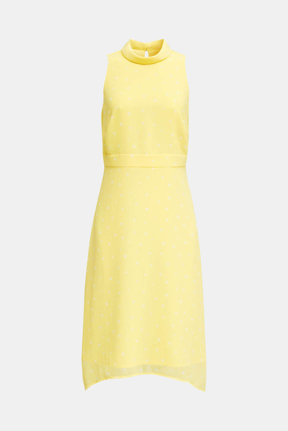 Chiffon dress with a high-low hem, LIME YELLOW, detail image number 6