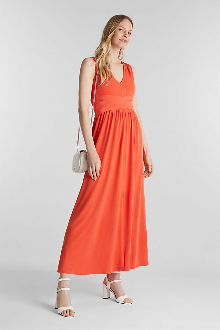Maxi dress with wrap details, RED ORANGE, detail image number 1