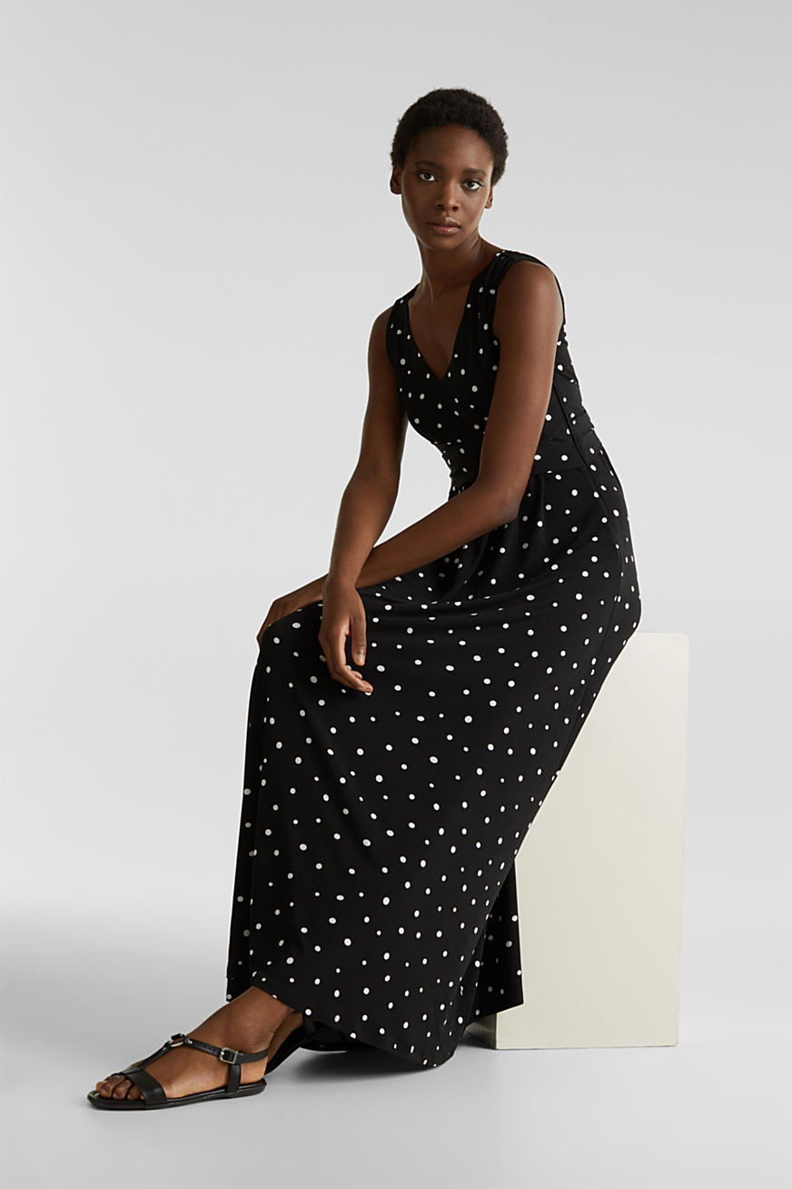 Jersey dress with a polka dot pattern