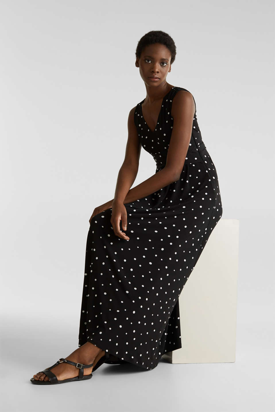 Jersey dress with a polka dot pattern, BLACK 3, detail image number 0