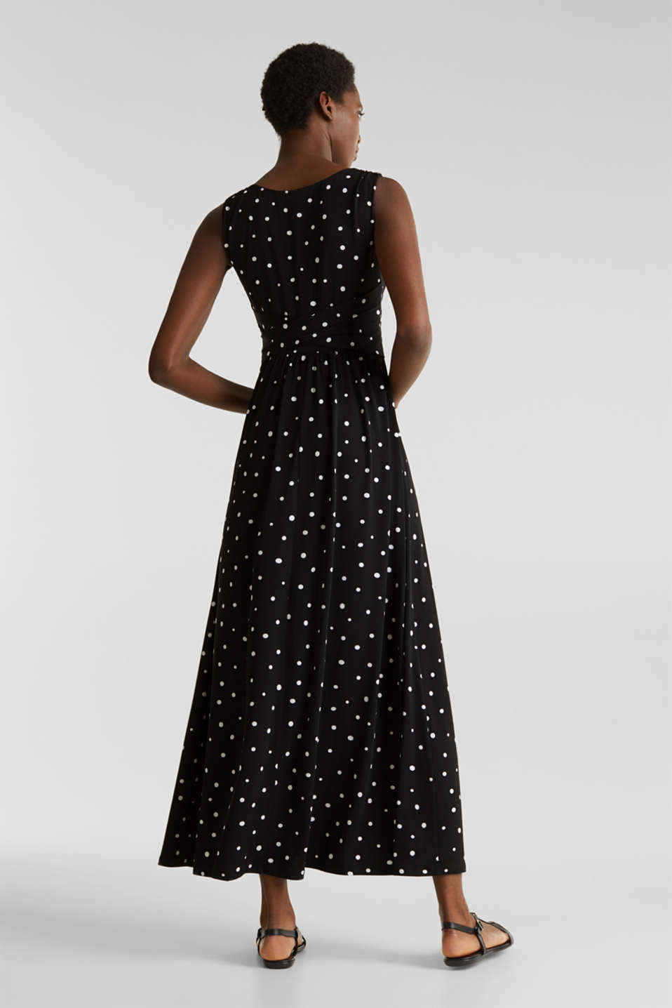 Jersey dress with a polka dot pattern, BLACK 3, detail image number 2