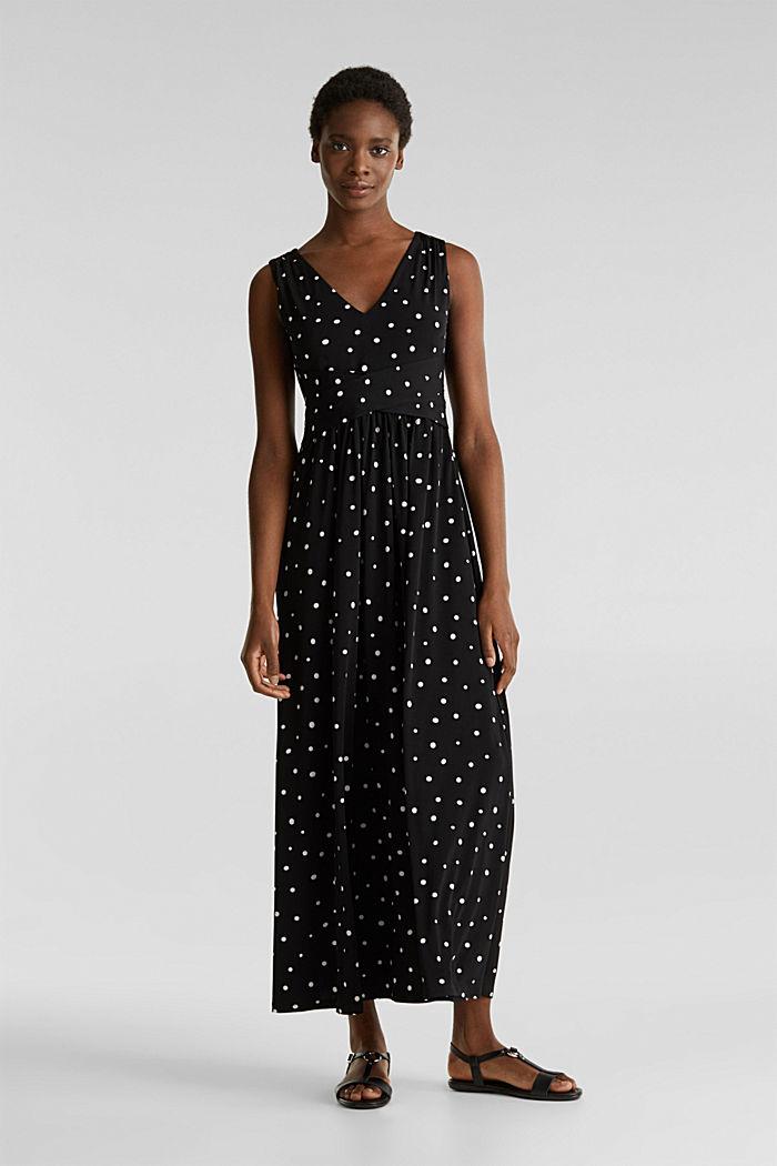 Jersey-Kleid mit Tupfen-Muster, BLACK, detail image number 1