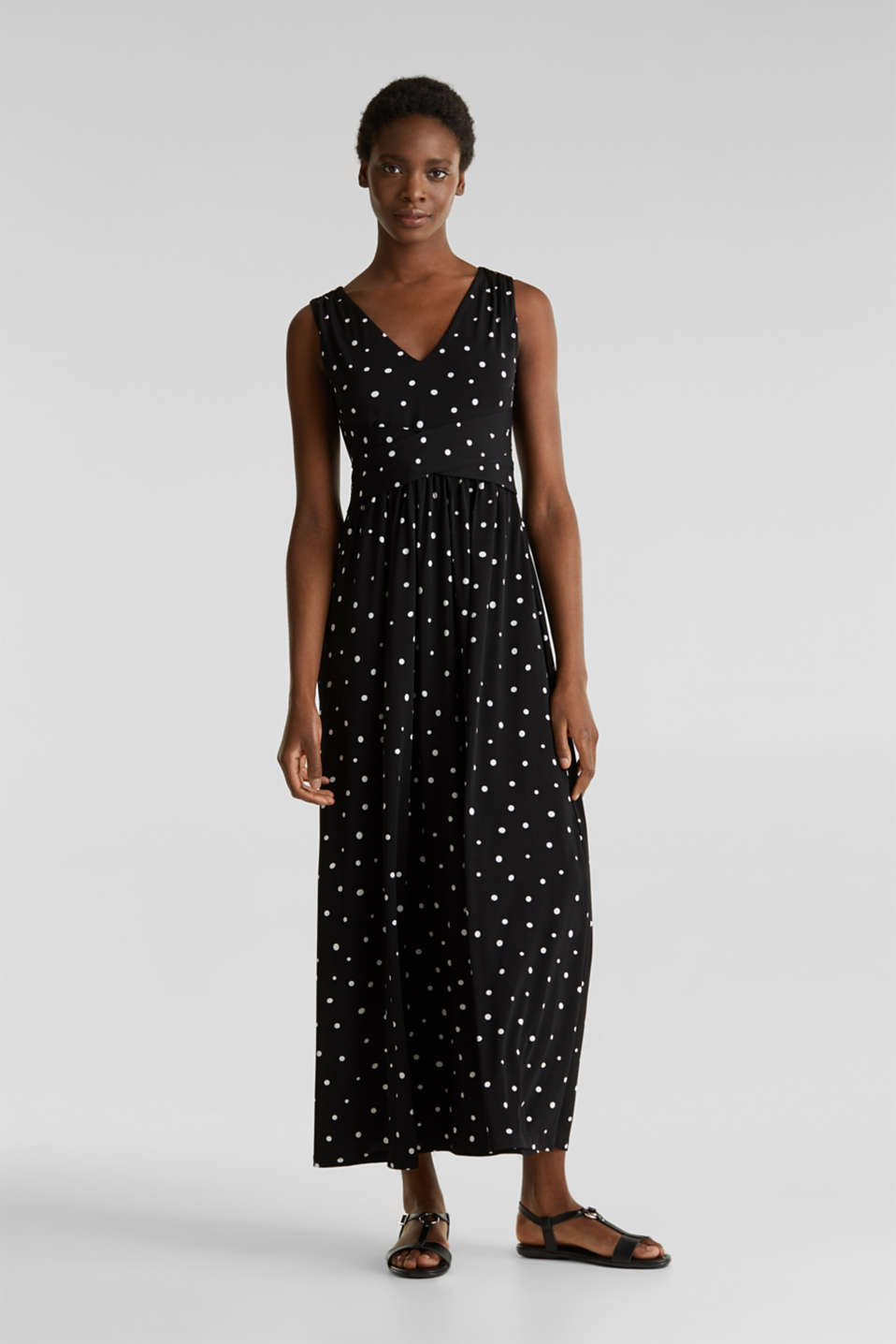 Jersey dress with a polka dot pattern, BLACK 3, detail image number 1