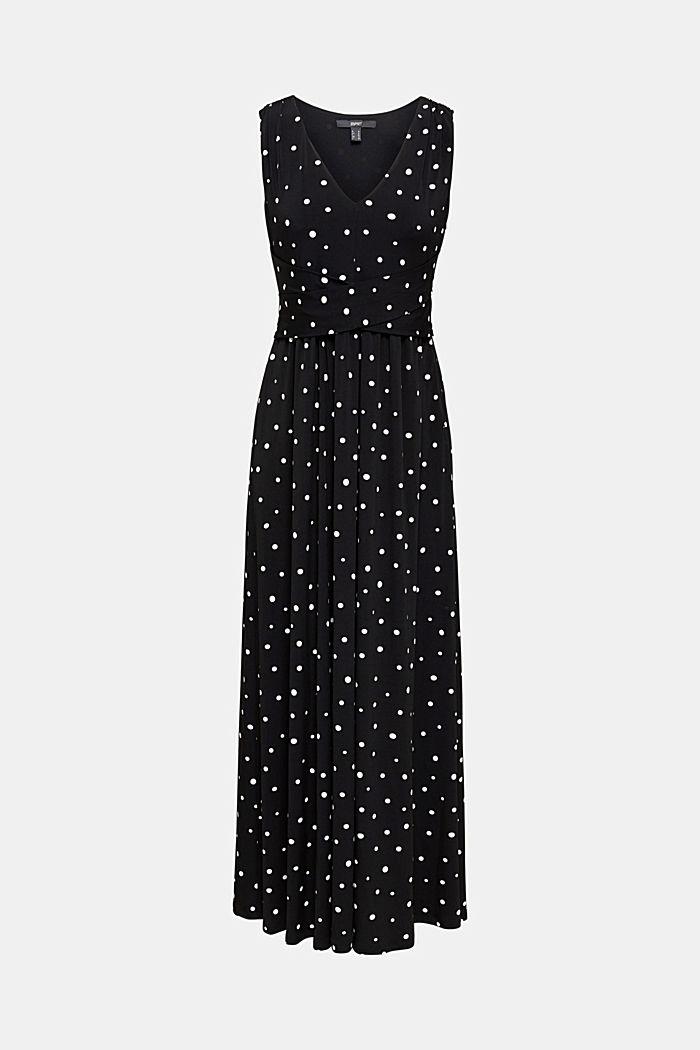 Jersey-Kleid mit Tupfen-Muster, BLACK, detail image number 5