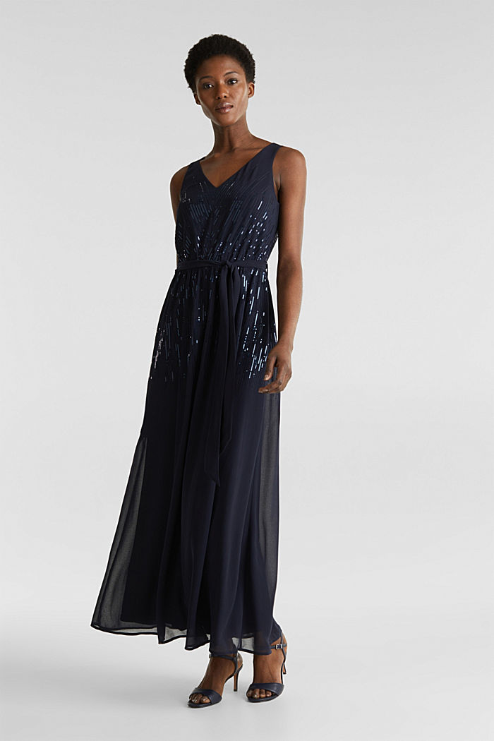Maxi dress with decorative sequins, NAVY, detail image number 0