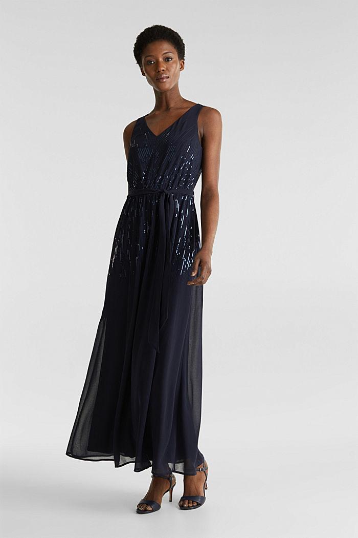 Maxi-Kleid mit Pailletten-Dekor, NAVY, detail image number 0