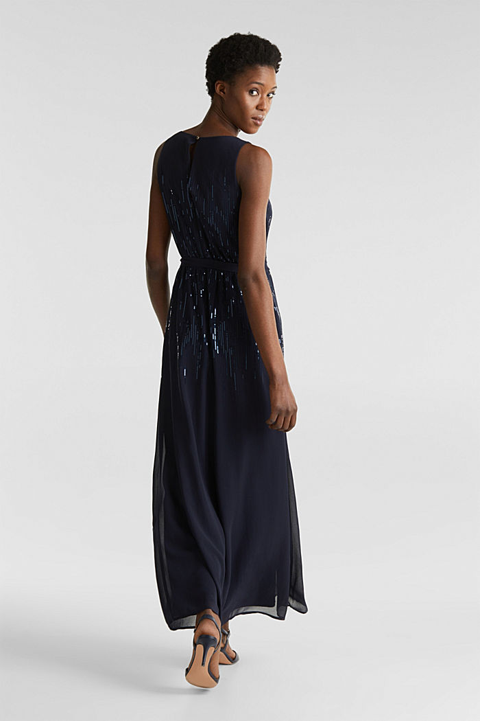 Maxi dress with decorative sequins, NAVY, detail image number 2
