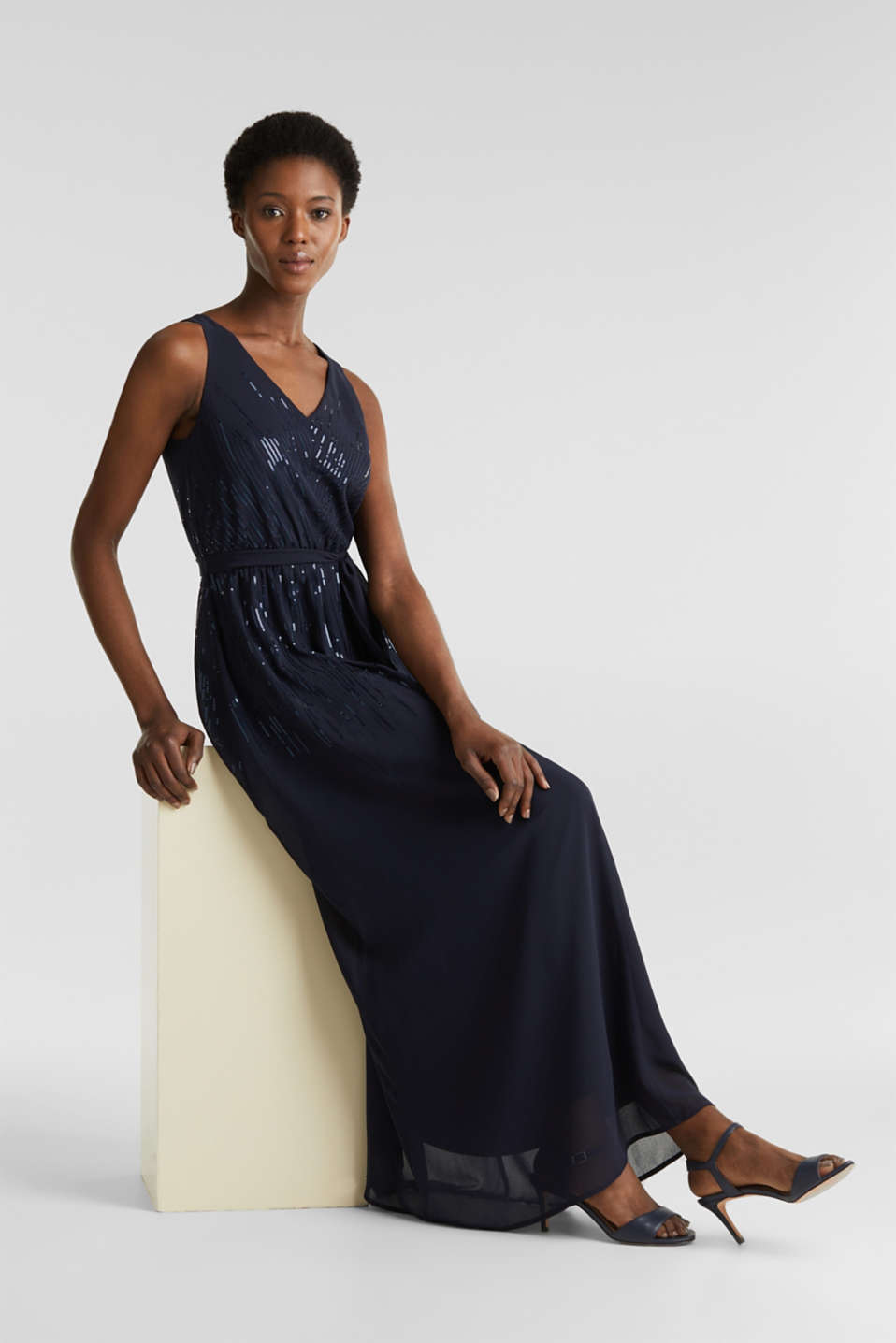 Maxi dress with decorative sequins, NAVY, detail image number 1