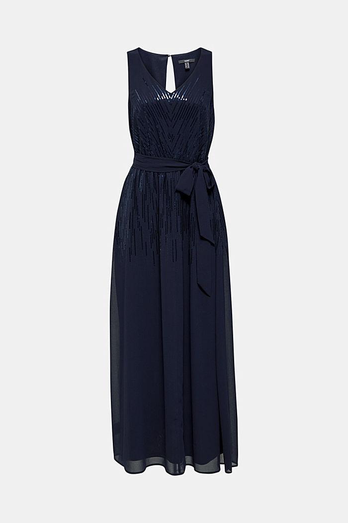 Maxi-Kleid mit Pailletten-Dekor, NAVY, detail image number 4