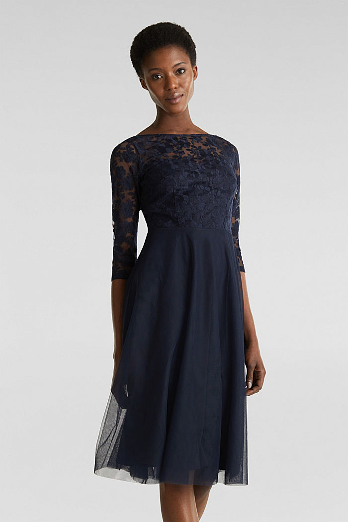 Tulle and embroidered mesh dress, NAVY, detail image number 0