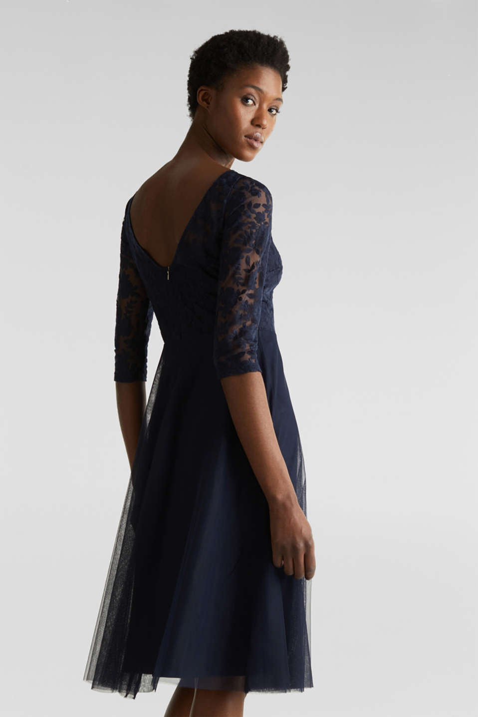 Tulle and embroidered mesh dress, NAVY, detail image number 2