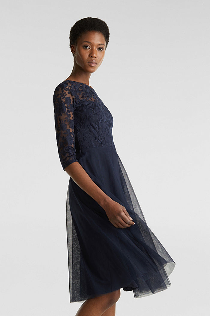 Tulle and embroidered mesh dress, NAVY, detail image number 5