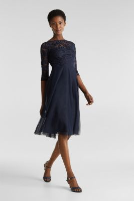 Tulle and embroidered mesh dress, NAVY, detail