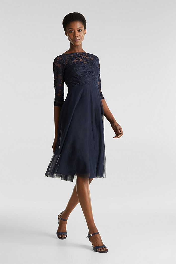 Tulle and embroidered mesh dress, NAVY, detail image number 1