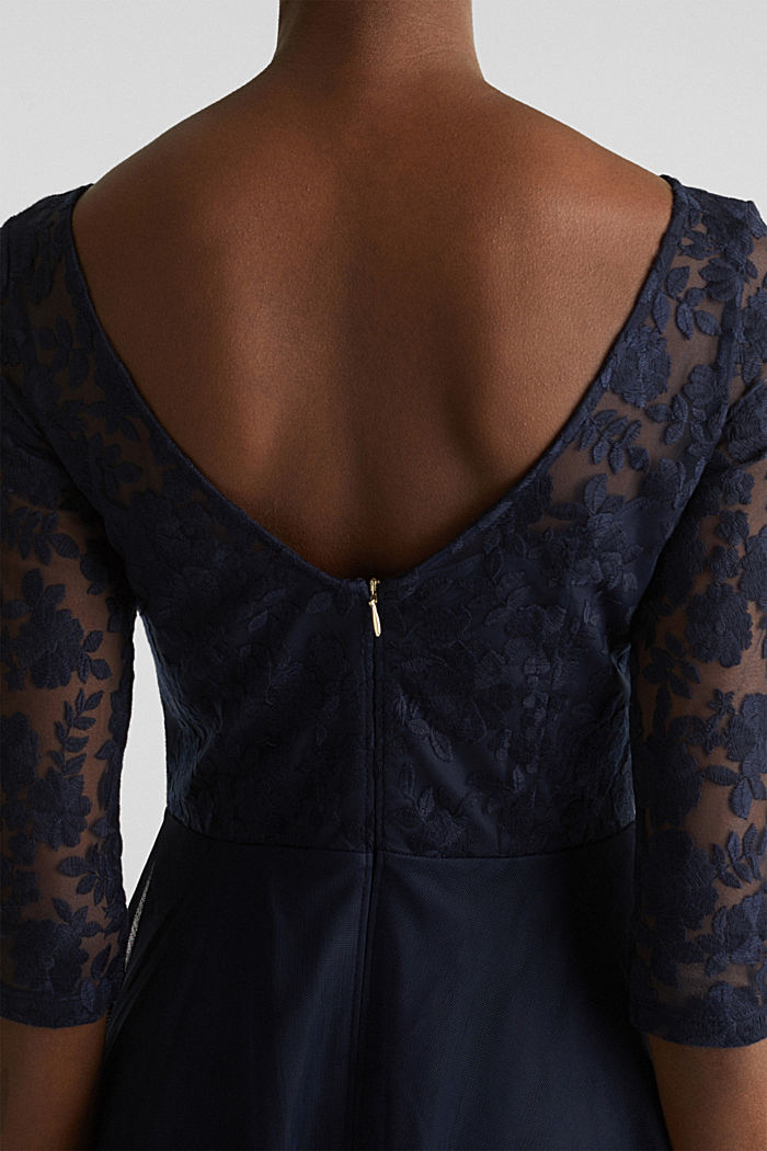 Tulle and embroidered mesh dress, NAVY, detail image number 3