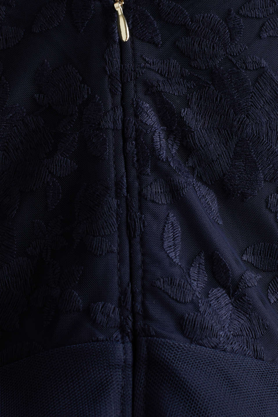 Tulle and embroidered mesh dress, NAVY, detail image number 4