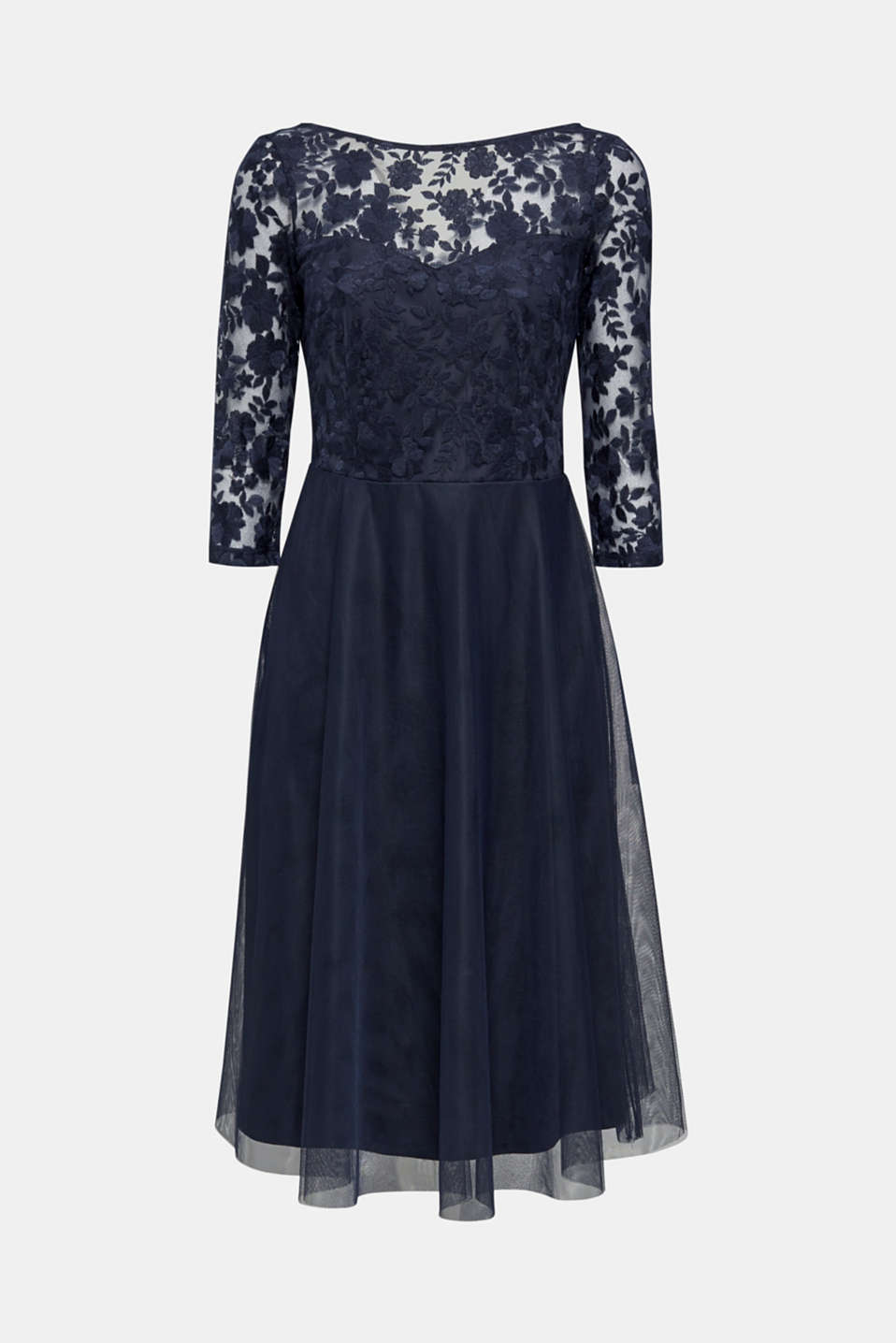 Tulle and embroidered mesh dress, NAVY, detail image number 6
