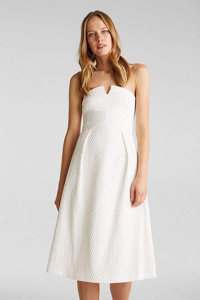 Dress with detachable straps, OFF WHITE, detail image number 0