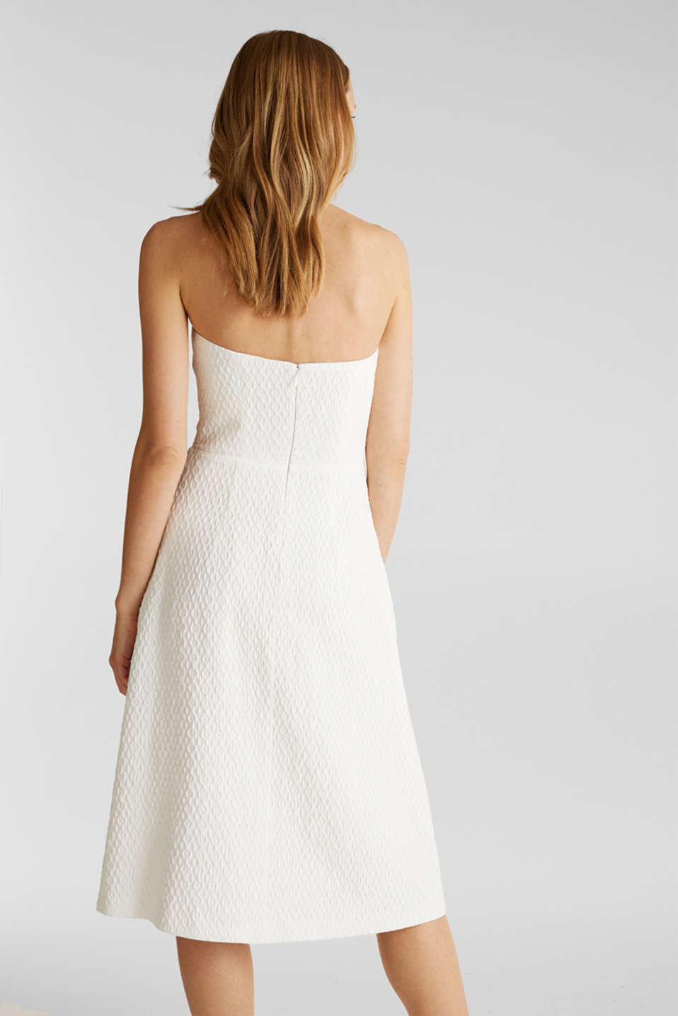 Dress with detachable straps, OFF WHITE, detail image number 3