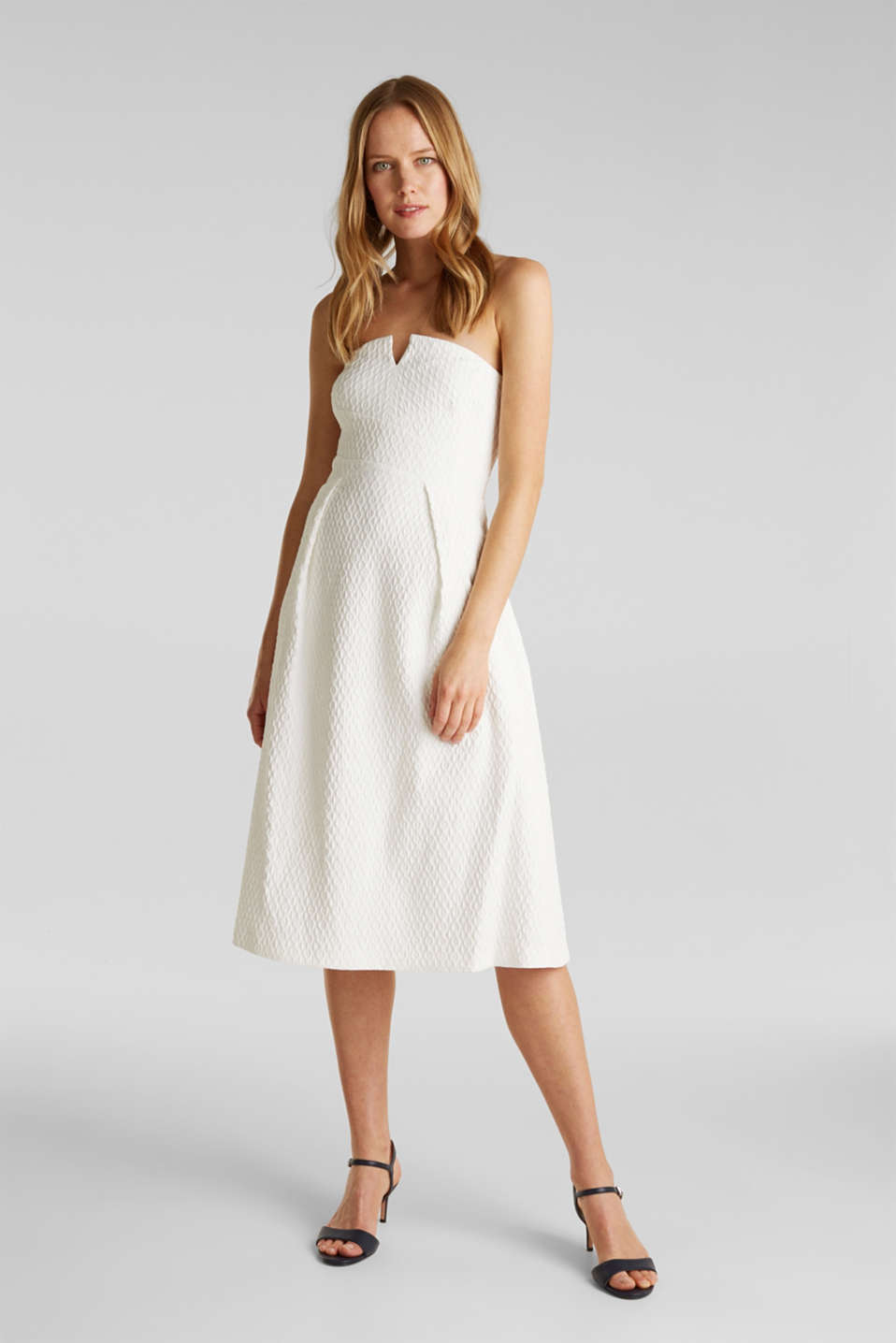 Dress with detachable straps, OFF WHITE, detail image number 1