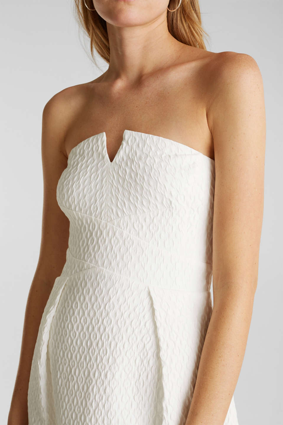 Dress with detachable straps, OFF WHITE, detail image number 2