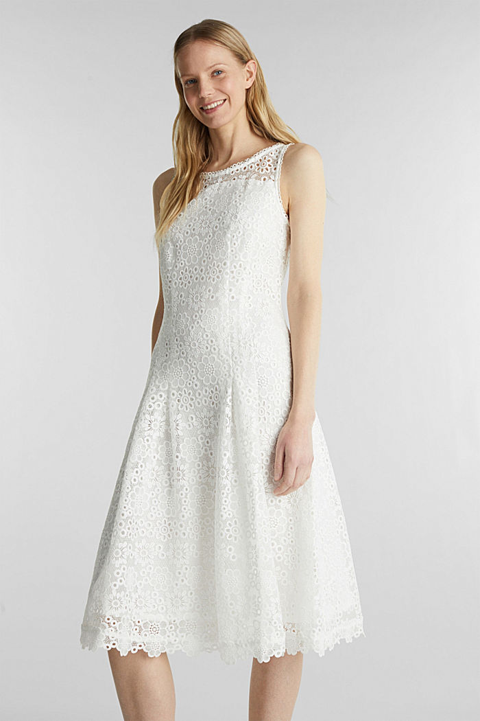 Floral lace dress, WHITE, detail image number 0