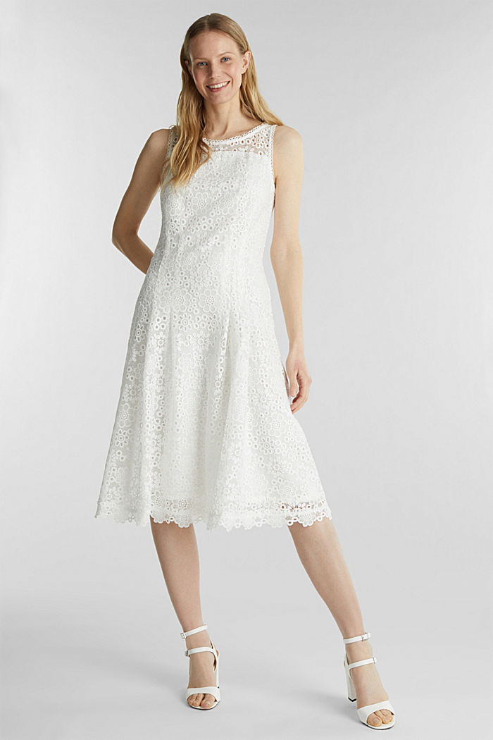 Floral lace dress, WHITE, detail image number 1