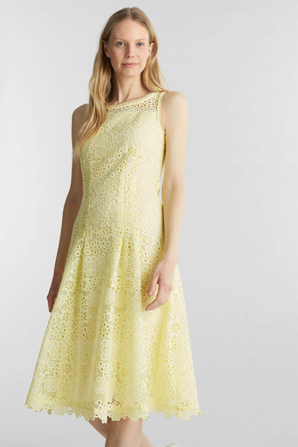 Floral lace dress, LIME YELLOW, detail image number 0