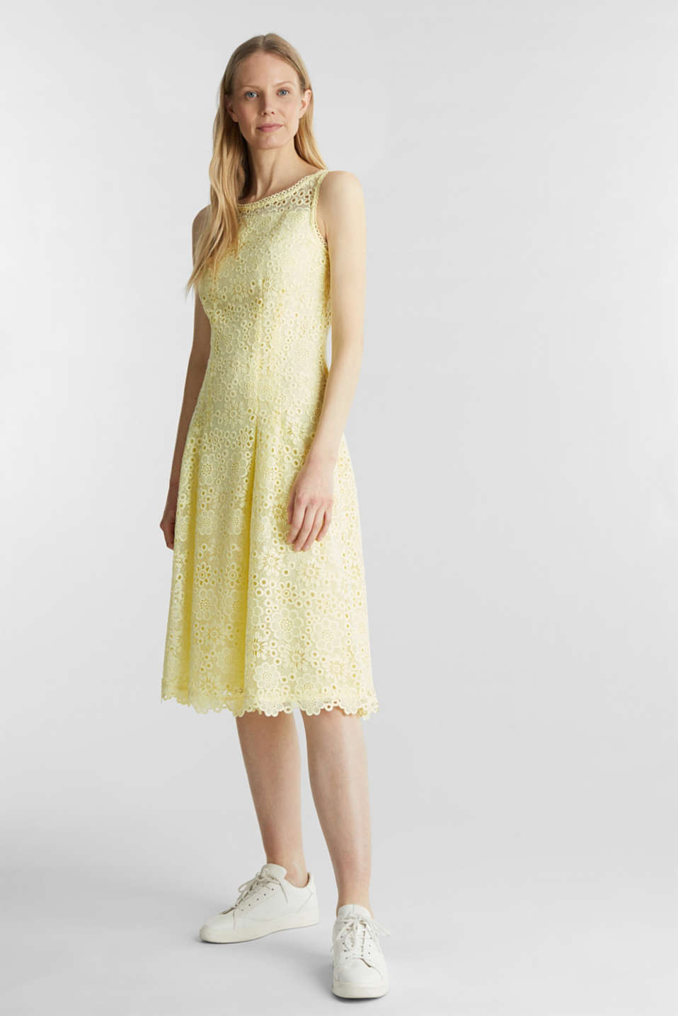 Floral lace dress, LIME YELLOW, detail image number 1