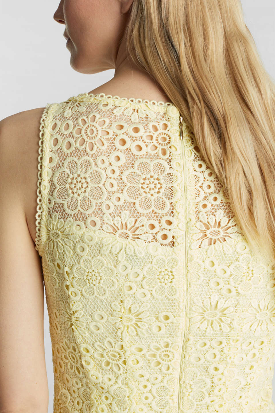 Floral lace dress, LIME YELLOW, detail image number 3
