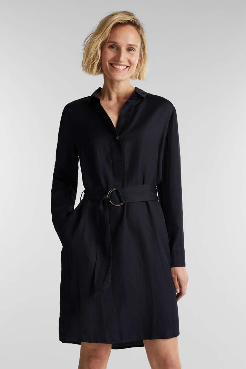 Blended linen: shirt dress with a belt, BLACK, detail image number 0